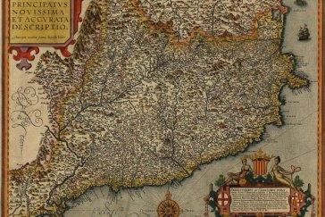 Mapa de Cataluña en el año 1608, donde se aprecia como los territorios del Rosellón y la Cerdaña ya están incluidos dentro de las fronteras aragonesas