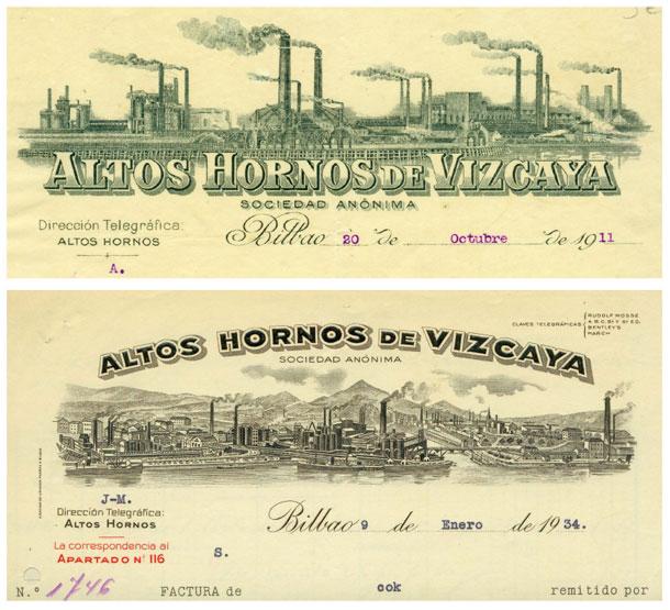 Facturas de 1911 y 1934 de Altos Hornos de Vizcaya. En ellas se representa el aspecto del que fuera el mayor complejo siderúrgico de todo el país. (Fuente: http://www.euskonews.eus/0640zbk/gaia64002es.html)