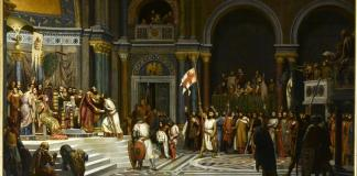 Godefroy de Bouillon faisant acte d'allégeance à l'empereur byzantin Alexis Comnène (Alexandre Hesse, previo 1879). En la imagen podemos ver a Alejo Comneno recibiendo al cruzado Godofredo de Bouillón en Constantinopla.