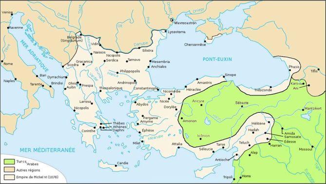 Imperio de Miguel VII en 1076. Podemos observar cómo la guerra civil y el avance turco comienzan a notarse en Anatolia.