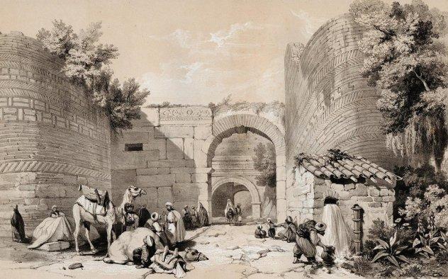 Puerta de Lefke en Nicaea (Desconocido, 1839). Una de las puertas de las fortificaciones bizantinas en tiempos otomanos.