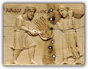 Escena de cosecha del trigo con dos campesinos con una hoz. Marfil del s.XI. Museo de Arte Metropolitano de Nueva York.