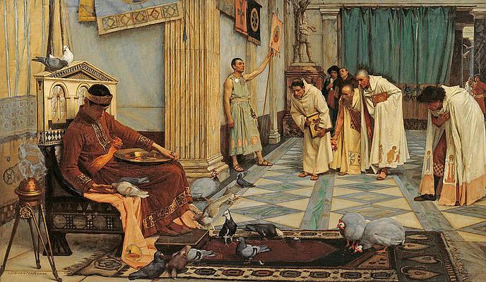 Los favoritos del emperador Honorio. John William Waterhouse. Para muchos autores, Honorio fue uno de los peores emperadores de la Roma de la Antigüedad Tardía
