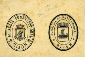 Escudo del Ayuntamiento de Gijón,1936. Servicio de Archivo y Documentación del Ayuntamiento de Gijón.