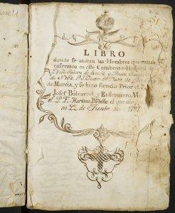 Portada del Registro de entrada de hombres, 1797-1803 (DIP,6082/1)