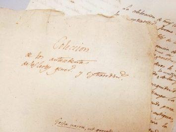 Carpetilla con la frase que da título al Manuscrito. Archivo Regional de la Comunidad de Madrid.