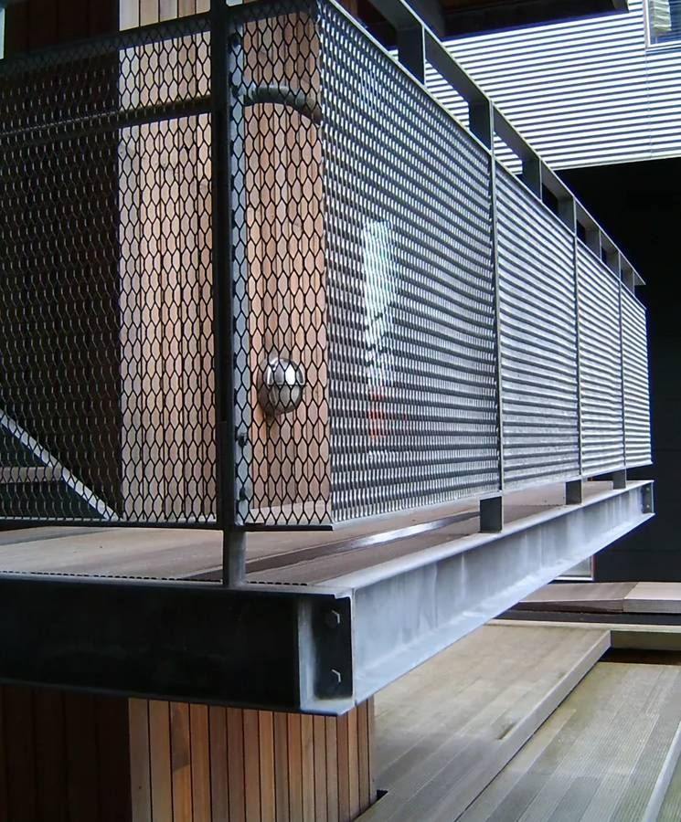 Expanded Metal Balustrade Railing Infill Panels For Bridge And | Wire Mesh Stair Railing | Exterior Perforated Metal | Galvanized Mesh | Staircase | Modern | Mesh Balustrade