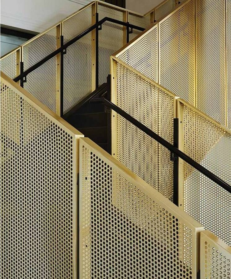 Perforated Metal Are Ideally Used As Balustrade Infill Panels | Wire Mesh Stair Railing | Exterior Perforated Metal | Galvanized Mesh | Staircase | Modern | Mesh Balustrade