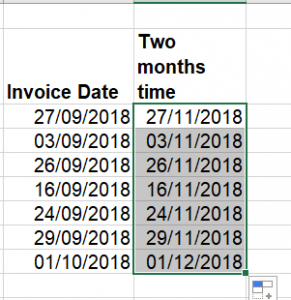 Microsoft Excel - finding a date exactly two months after another date