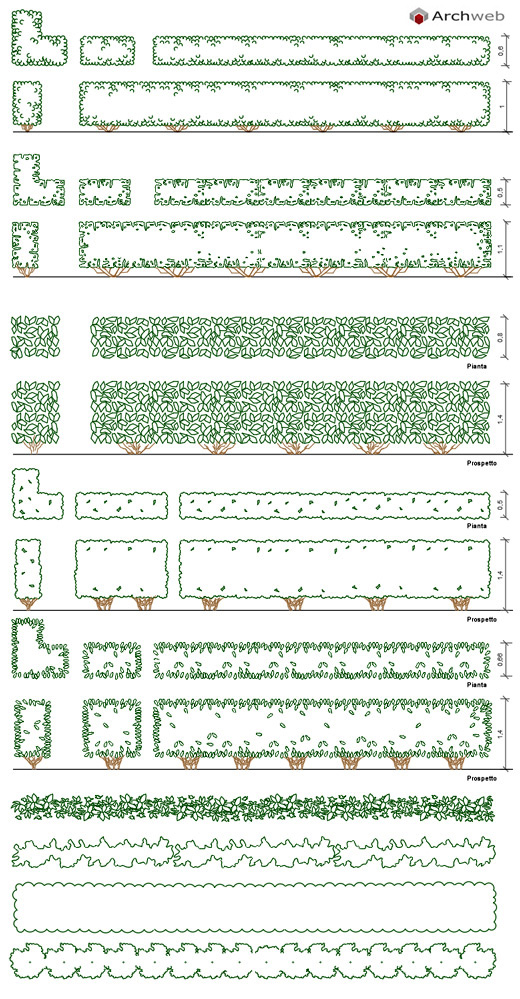 Parterre hedges dwg drawings