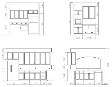 cucine 2D  disegni di cucine in dwg 3