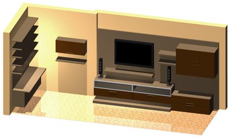 Pareti attrezzate 3D  Mobili per soggiorno dwg