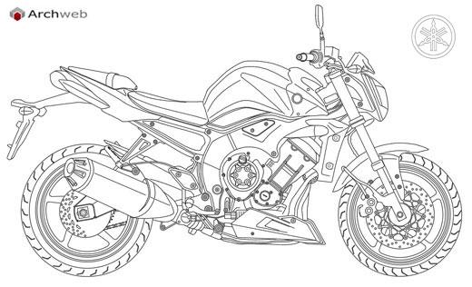 Moto Yamaha dwg drawings