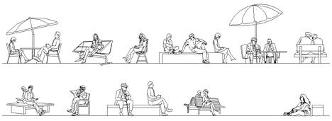 persone sedute dwg