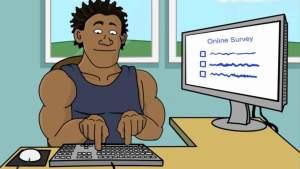 Cartoon man typing on keyboard taking online survey