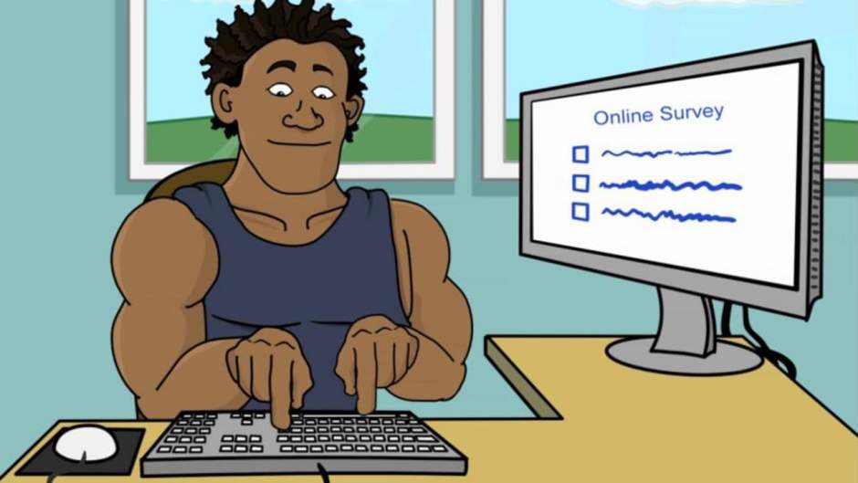 Cartoon man typing on keyboard taking online survey