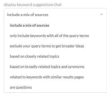Display Moz Keyword Explorer: Keyword Drop-down Menu