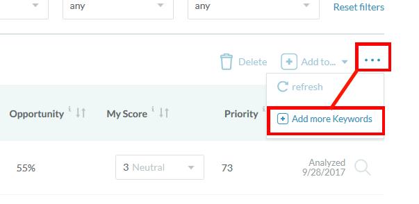 Opening Add Keywords Menu in Moz Keyword Explorer