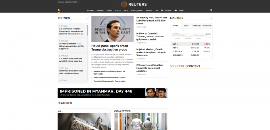 Reuters.com Homepage as of March 4, 2019