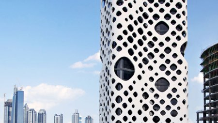O-14 office tower or Swiss Cheese Tower Dubai