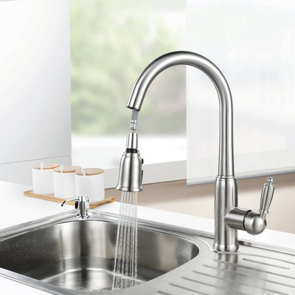 arcora top rated pull down kitchen faucets brushed nickel