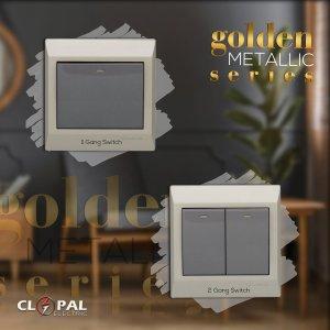 2 gang switch golden metallic clopal