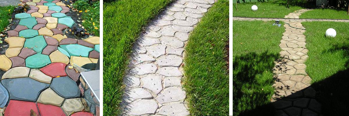 Betonformen, Gartenwege selber machen, Beispiele