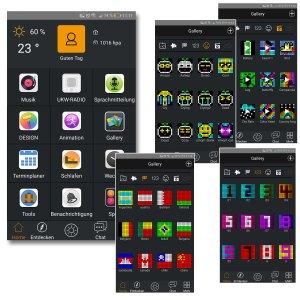 Divoom TimeBox - Galery, Sammlung von verschieden Icons, Nummer, Flags und Animationen