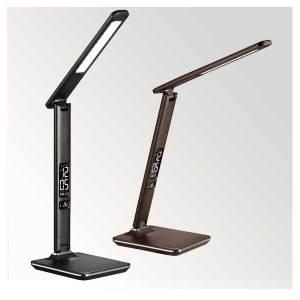 LED Schreibtischlampe, moderne Leseleuchte im Lederoptik