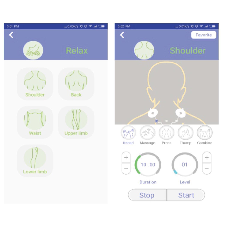HEE Pad - Apps Einstellungen für Relax EMS-Massage