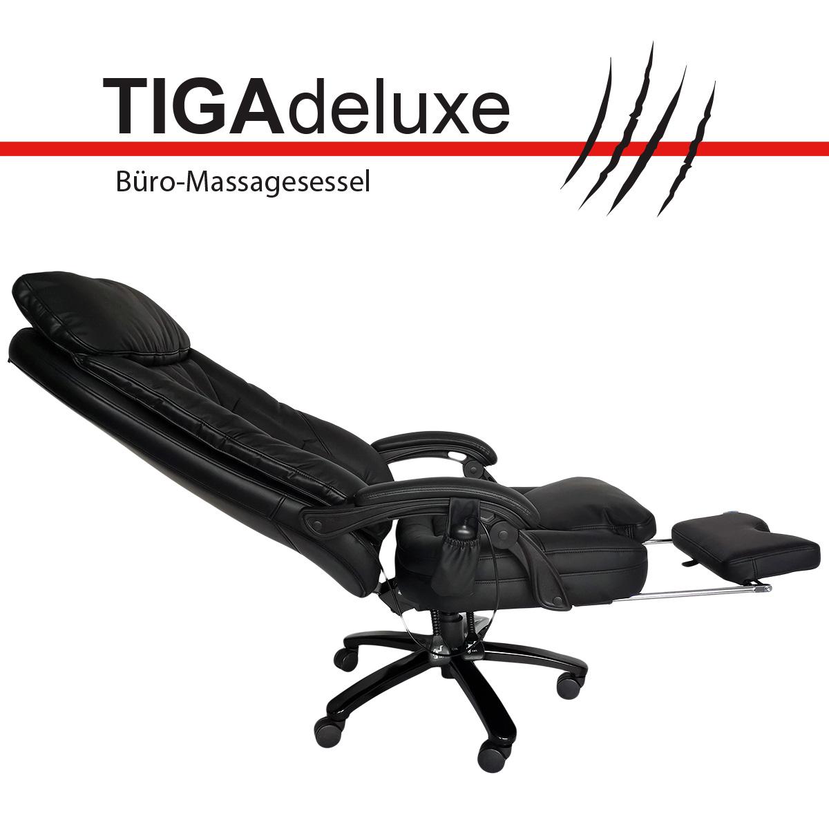 @tec Tiga Deluxe Bürostuhl mit Massagefunktion, Shiatsu Chefsessel, Relax Bürosessel mit kräftigen Shiatsumassage mit 4 rotierenden Massageköpfen