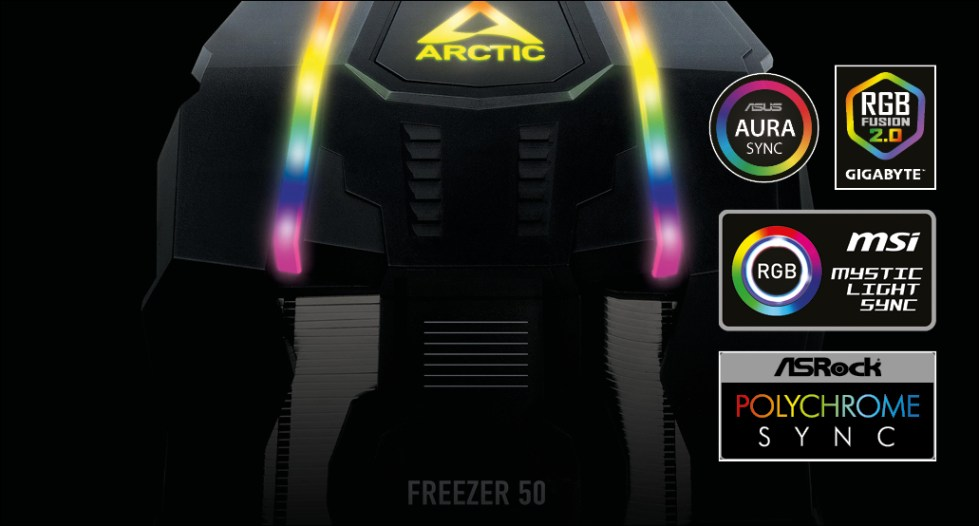 Multi Compatible Dual Tower CPU Cooler ARCTIC Freezer 50 A-RGB for full Colour Control