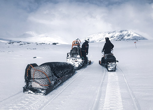 Snowmobiles in the mountains