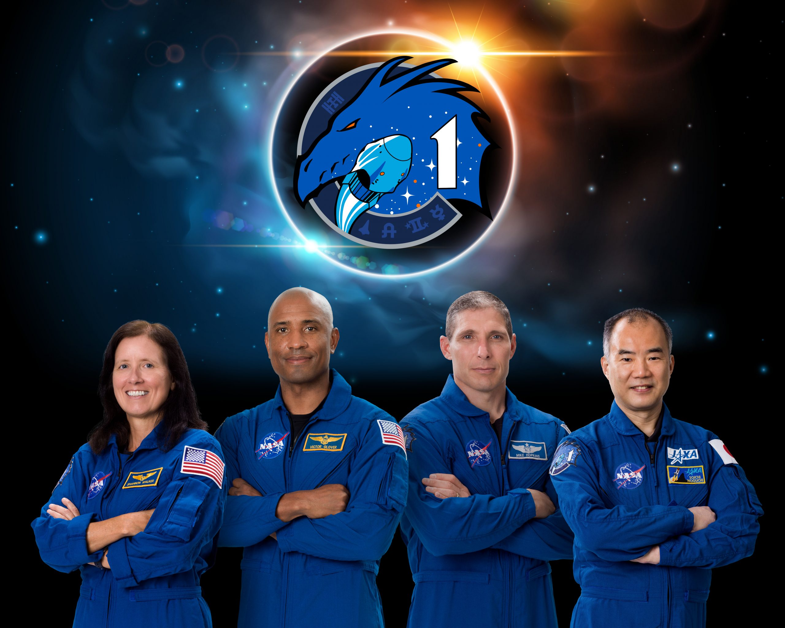 PHOTO DATE: 06/15/2020.  LOCATION: Bldg. 8 Rm. 183.  SUBJECT: SpaceX Crew-1 official crew portrait with NASA astronauts Shannon Walker, Victor Glover, Mike Hopkins, and JAXA astronaut Soichi Noguchi PHOTOGRAPHER: Norah Moran