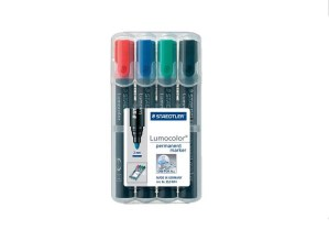 Staedtler Lumocolor (Permanent) Marker Pens 2mm Bullet Tip Pack of 4