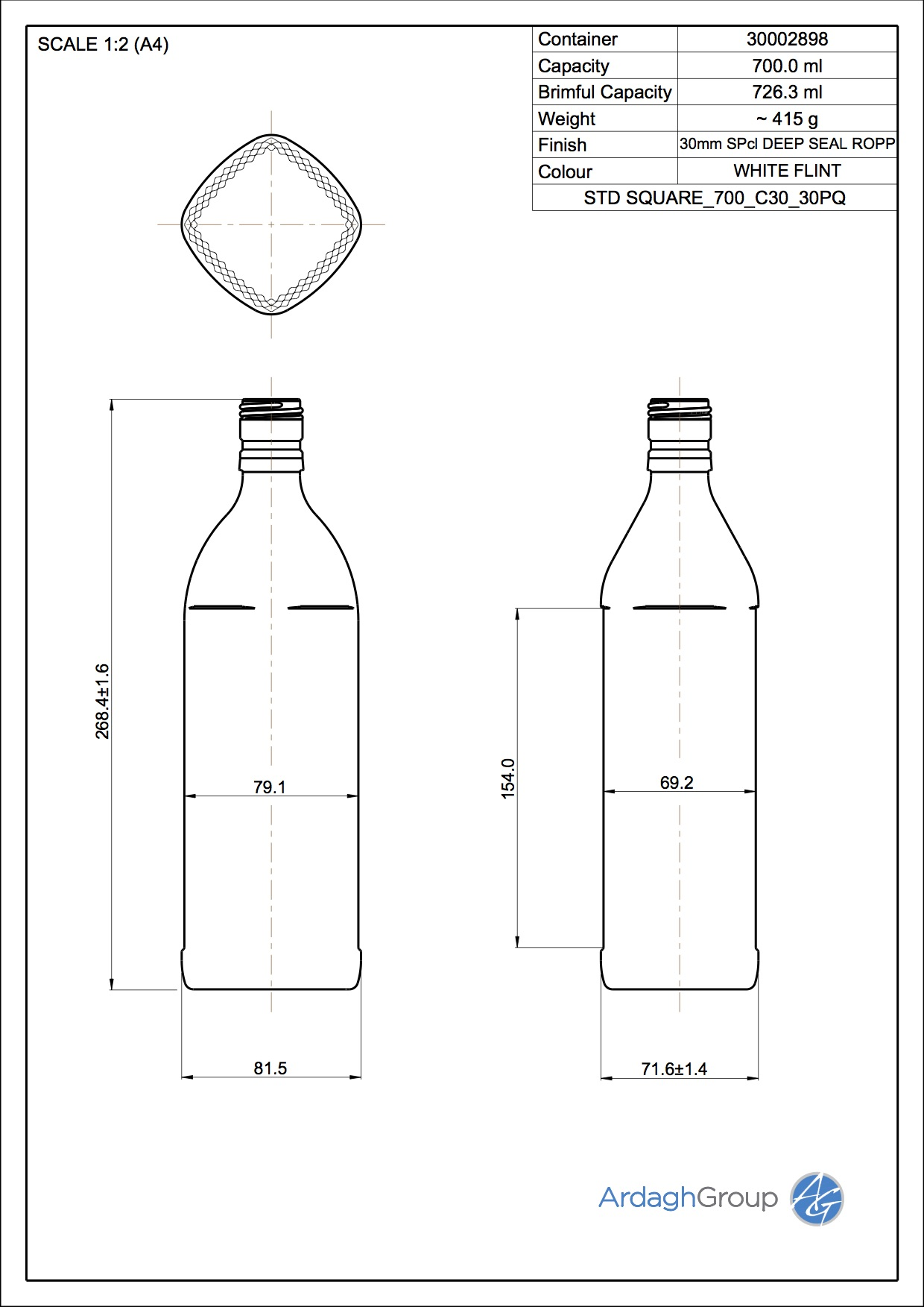 hight resolution of square spirit bottle 700ml