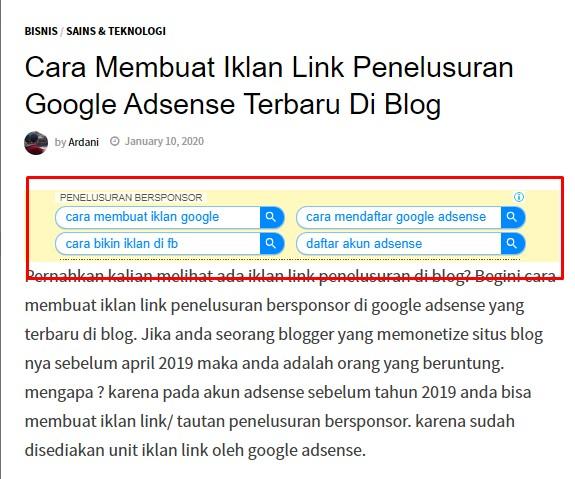 Cara Membuat Iklan Link Penelusuran Google Adsense Terbaru Di Blog