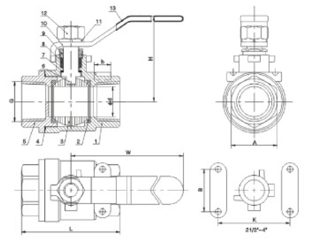 hight resolution of two piece threaded ball valve drawing