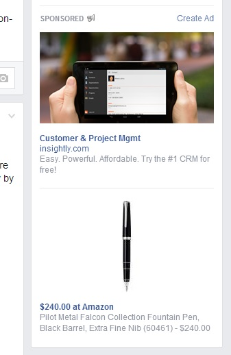 Facebook ads for Insightly.com and the Pilot Metal Falcon fountain pen