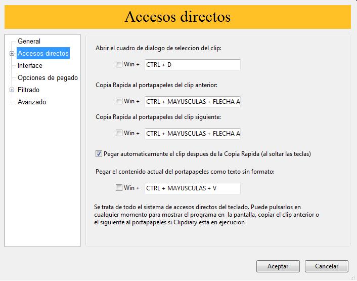Accesos directos Clipdiary