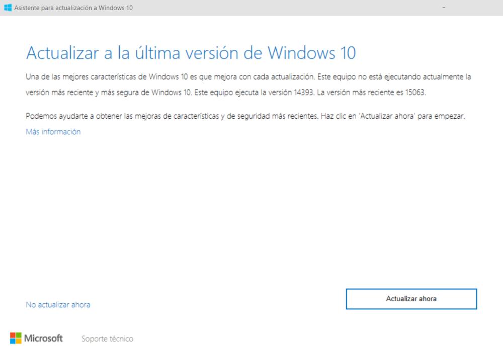 Asistente de actualización a Windows 10