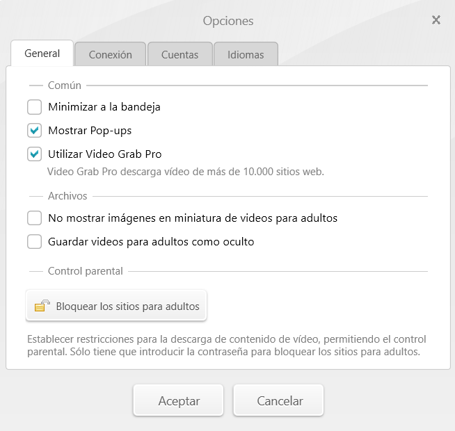 Opciones Video Downloader
