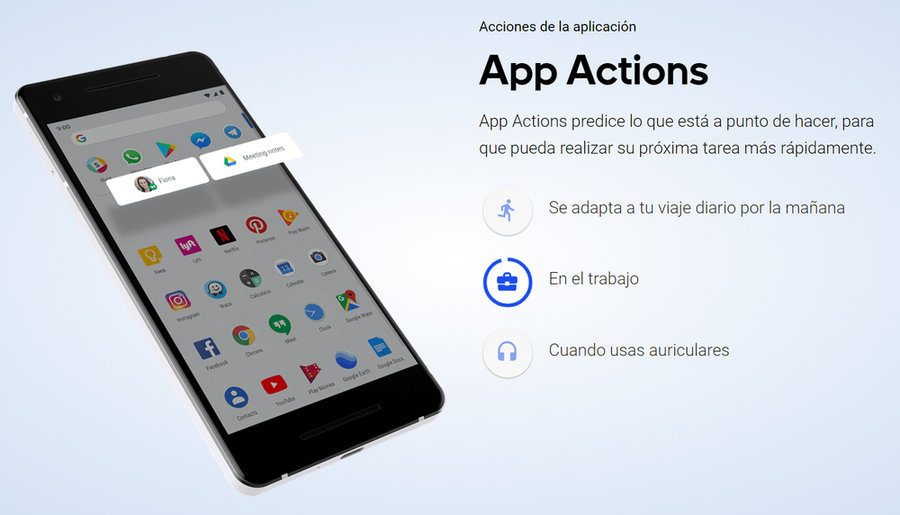 App actions de Android 9