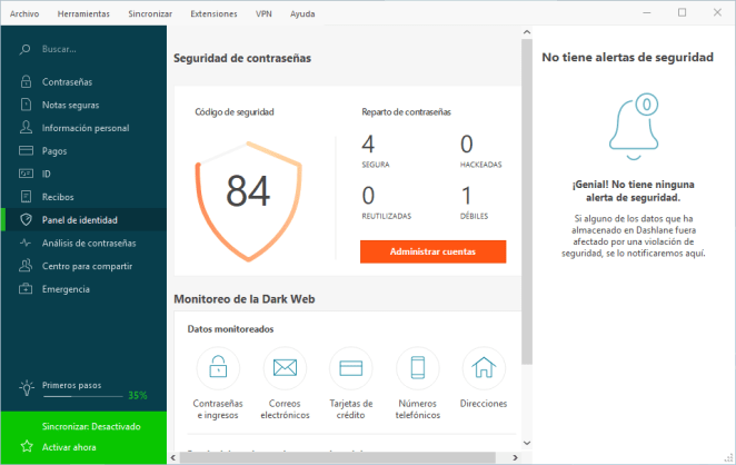 Monitor Dark Web de Dashlane