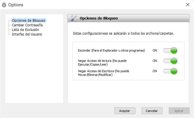 Opciones de bloqueo de Protected Folder