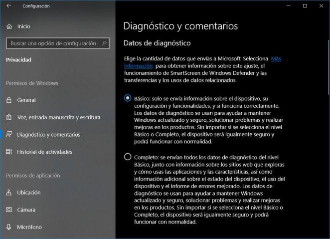 Windows 10 datos que se envían a Microsoft