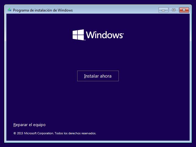 Instalar Windows 10 desde USB o DVD