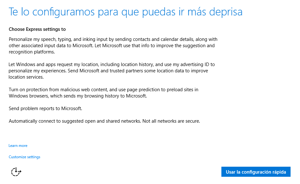configuración rápida de Windows 10