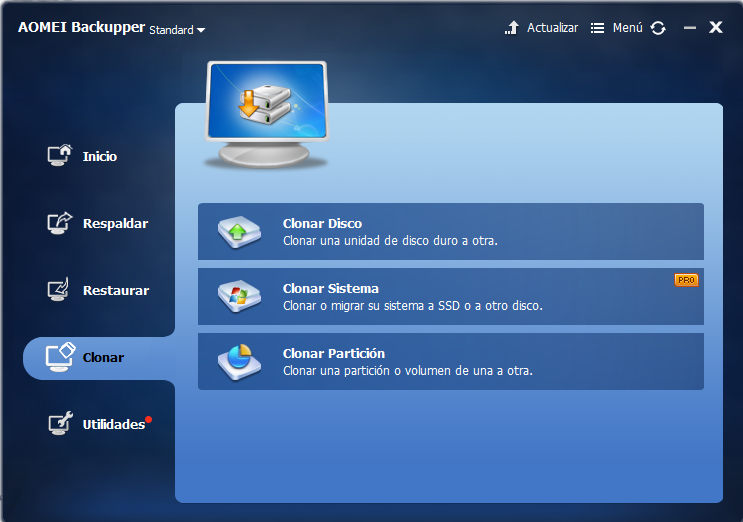 AOMEI Backupper clonar disco