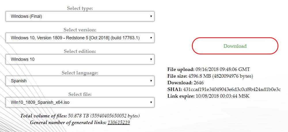 ISO de Windows 10 October 2018 Update 1809 Build 17763